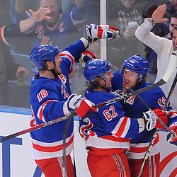 May 12, 2012: New York Rangers center Brad Richards (19) celebrates his goal with line mates defenseman Marc Staal (18) and left wing Carl Hagelin (62) during first period action in game 7 of the NHL Eastern Conference Semi-finals between the Washington Capitals and New York Rangers at Madison Square Garden in New York, N.Y.