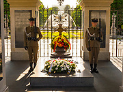 Tomb of the Unknown Soldier with two soldiers standing guard, Warsaw, Poland
