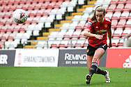 Manchester United midfielder Ella Toone (7) crosses during the FA Women's Super League match between Manchester United Women and Manchester City Women at Leigh Sports Village, Leigh, United Kingdom on 14 November 2020.