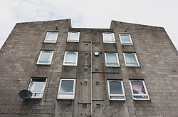 Exterior of ugly concrete apartment building Carnegie Court in Edinburgh, Scotland, UK