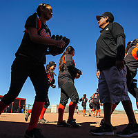 031814  Adron Gardner/Independent<br /> <br /> The Gallup Bengals take to the field on a clear day to face off with the Bloomfield Bobcats at Gallup High School in Gallup Tuesday.