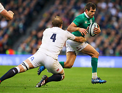 Jared Payne of Ireland in action against Joe Launchbury of England - Mandatory by-line: Ken Sutton/JMP - 18/03/2017 - RUGBY - Aviva Stadium - Dublin,  - Ireland v England - RBS 6 Nations