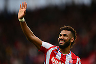 Maxim Choupo of Stoke city waves to the fans after their win. Premier league match, Stoke City v Arsenal at the Bet365 Stadium in Stoke on Trent, Staffs on Saturday 19th August 2017.<br /> pic by Bradley Collyer, Andrew Orchard sports photography.
