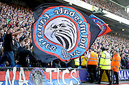 Crystal Palace Ultras fans wave large flag during the 1st half. Barclays Premier League match, Crystal Palace v West Bromwich Albion at Selhurst Park in London on Saturday 3rd October 2015.<br /> pic by John Patrick Fletcher, Andrew Orchard sports photography.