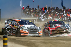 April 28, 2018 - Montalegre, Vila Real, Portugal - Janis BAUMANIS (LVA) in Ford Fiesta of Team Stard (L) and Robin LARSSON (SWE) in Ford Fiesta of Olsbergs MSE (R) in action during the World RX of Portugal 2018, at Montalegre International Circuit, on April 28, 2018 in Montalegre, Portugal. (Credit Image: © Dpi/NurPhoto via ZUMA Press)