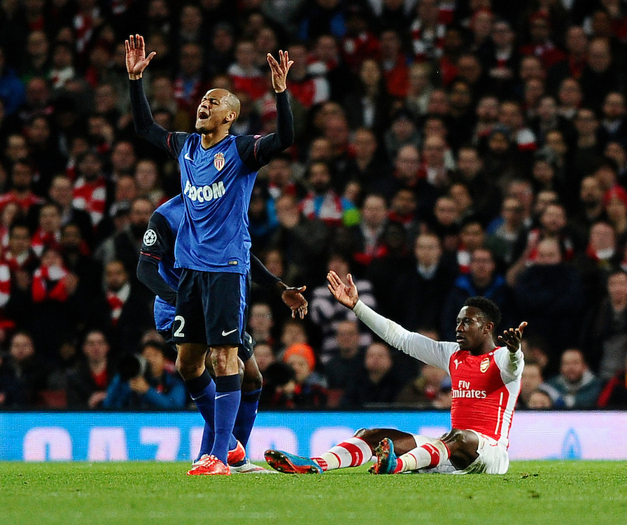 Arsenal's Danny Welbeck appeals as does Monaco's Fabinho<br /> <br /> Photographer Ashley Western/CameraSport<br /> <br /> Football - UEFA Champions League Second Round 1st Leg - Arsenal v Monaco - Wednesday 25th February 2015 - Emirates Stadium - London<br /> <br /> © CameraSport - 43 Linden Ave. Countesthorpe. Leicester. England. LE8 5PG - Tel: +44 (0) 116 277 4147 - admin@camerasport.com - www.camerasport.com