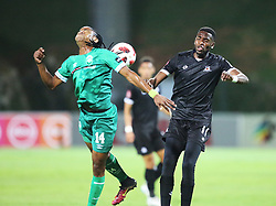 02102018 (Durban) Amazulu player Siyethemba Sithebe defend a ball from Fortune Makaringe of Maritzburg United during the game when AmaZulu FC takes head on their KwaZulu-Natal rivals Maritzburg United in an Absa Premiership match at the King Zwelithini Stadium in Durban on Tuesday night. Usuthu extended their winless run to three league games when they lost 2-0 to Kaizer Chiefs away in their previous match over a week ago and after losing 6 points.<br /> Picture: Motshwari Mofokeng/African News Agency (ANA)