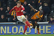 Nottingham Forest defender Matt Mills(5) and Hull City midfielder Mohammed Diame (17) during the Sky Bet Championship match between Hull City and Nottingham Forest at the KC Stadium, Kingston upon Hull, England on 15 March 2016. Photo by Ian Lyall.