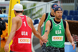 12.07.2014, Beach Village, Gstaad, SUI, FIVB Beach Volleyball Grand Slam Gstaad, im Bild Sean Rosenthal (USA,R) und Nicholas Lucena (USA,L) // during the FIVB Beach Volleyball Grand Slam Gstaad at the Beach Village in Gstaad, Switzerland on 2014/07/12. EXPA Pictures © 2014, PhotoCredit: EXPA/ Freshfocus/ Claude Diderich<br /> <br /> *****ATTENTION - for AUT, SLO, CRO, SRB, BIH, MAZ only*****
