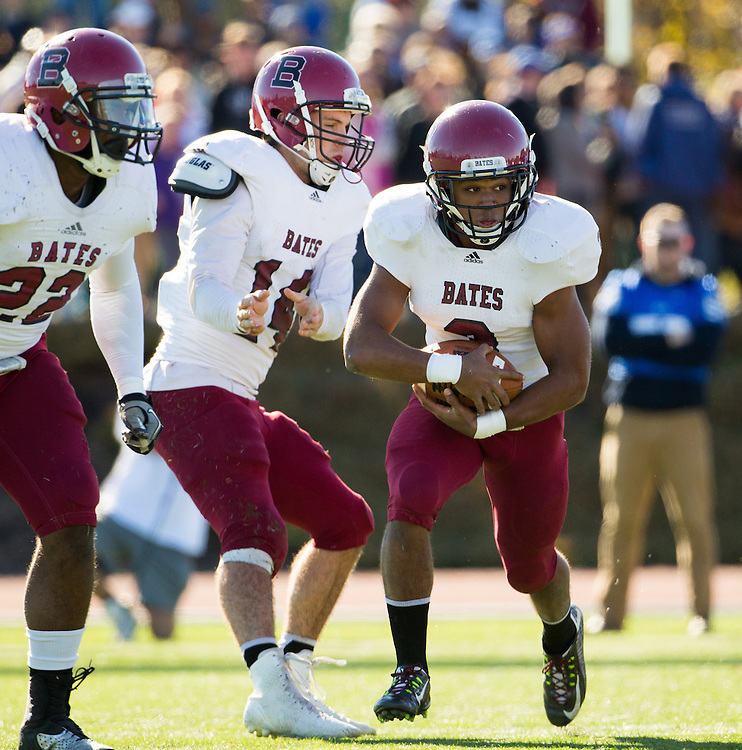 Bates College slotback Frank Williams (3) during a NCAA Division III football game between Colby College and Bates College at Seaverns Field at Harold Alfond Stadium on October 24, 2015 in Waterville, Maine. (Dustin Satloff)
