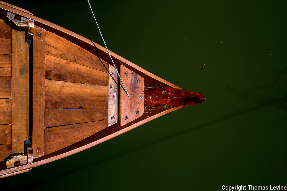 Boat bow and line in the water at Hoi An River area. RAW to Jpg