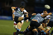 Lloyd Williams of Cardiff Blues kicks to clear his lines. Guinness Pro14 rugby match, Cardiff Blues v Glasgow Warriors Rugby at the Cardiff Arms Park in Cardiff, South Wales on Saturday 16th September 2017.<br /> pic by Andrew Orchard, Andrew Orchard sports photography.