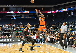 July 6, 2018 - Oakland, CA, U.S. - OAKLAND, CA - JULY 06:Baron Davis (5) co-captain of 3's Company goes up for the winning basket during game 1 in week three of the BIG3 3-on-3 basketball league on Friday, July 6, 2018 at the Oracle Arena in Oakland, CA  (Photo by Douglas Stringer/Icon Sportswire) (Credit Image: © Douglas Stringer/Icon SMI via ZUMA Press)