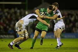 December 24, 2017 - Galway, Ireland - Tom Farrell of Connacht tackled by Ian Henderson and Wiehahn Herbst of Ulster during the Guinness PRO14 Round 11 match between Connacht Rugby and Ulster Rugby at the Sportsground in Galway, Ireland on December 23, 2017  (Credit Image: © Andrew Surma/NurPhoto via ZUMA Press)