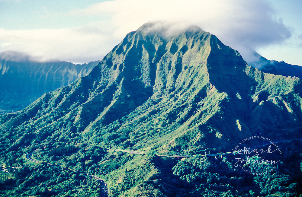 Aerial view of Pali Highway under Pu'u Konahuanui, Koolau Mountains, Oahu, Hawaii
