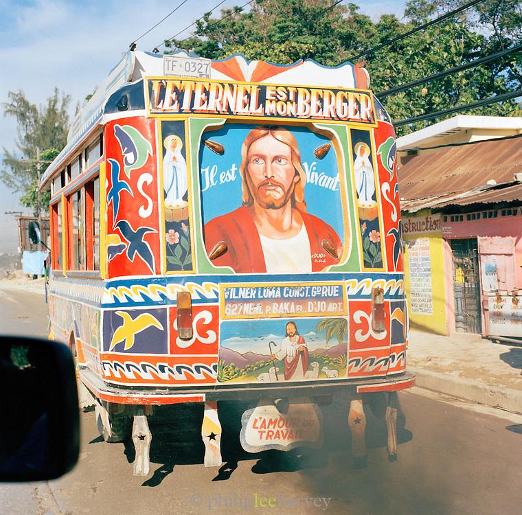 Local bus with Christian decoration, Port-Au-Prince, Haiti
