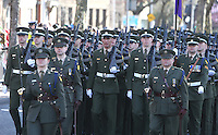 Members of the Defence forces pictured during the centenary Easter Rising Parade at Cuffe Street in Dublin. Picture credit; Damien Eagers 27/3/2016