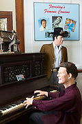 The Blues Trail - waxwork display local celebrity Jerry Lee Lewis playing piano at Louisiana Delta Music Museum, Ferriday USA