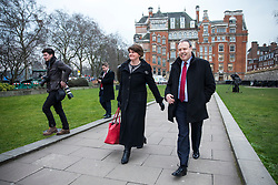 © Licensed to London News Pictures. 21/02/2018. London, UK. DUP Leader ARLENE FOSTER (C) and DUP Deputy Leader NIGEL DODDS (R) give a statement to the press after meeting with Prime Minister Theresa May. Photo credit: Rob Pinney/LNP