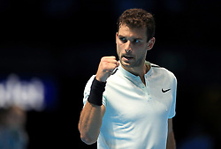 Grigor Dimitrov reacts during day four of the NITTO ATP World Tour Finals at the O2 Arena, London.