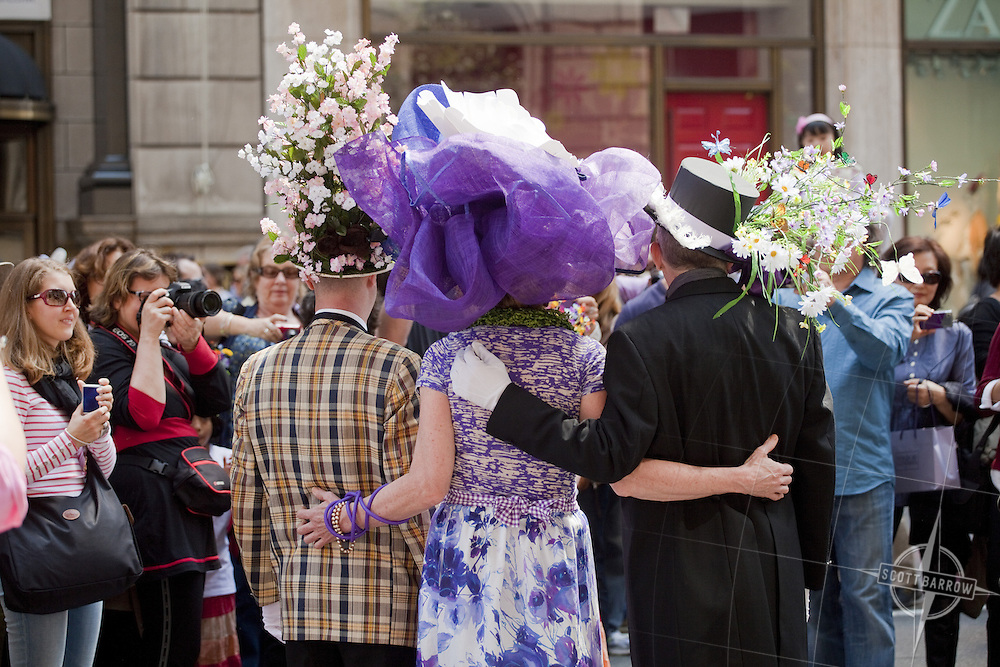 Participants in the Easter Parade down Fifth Avenue in New York, NY. For Editorial use only.