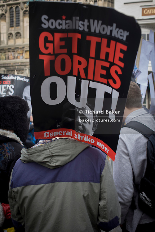 Young Socialist Worker protesters demonstrate against the Tory coalition in Butter Market, during the enthronement for the new Archbishop of Canterbury, Justin Welby.
