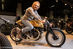 PDF Motociclette's Stefano Martinelli of Bergamo, Italy with his custom Vincent built by Davide Frenky Francavilla in the AMD World Championship of Custom Bike Building in the Intermot Customized hall during the Intermot International Motorcycle Fair. Cologne, Germany. Friday October 5, 2018. Photography ©2018 Michael Lichter.