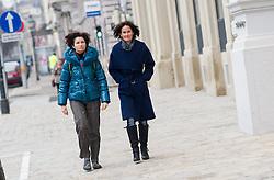 16.01.2015, König Abdullah Zentrum, Wien, AUT, Gruene, Mahnwache für verurteilten saudischen Blogger Raif Badawi. im Bild v.l.n.r. Nationalratsabgeordnete der Gruenen Alev Korun und Gruene Klubobfrau Eva Glawischnig // f.l.t.r. Member of Parliament of the greens Alev Korun und Leader of the parliamentary group the greens Eva Glawischnig<br />  during picket of the greens according to the convicted blogger Raif Badawi at KAICIID Dialogue Centre in Vienna, Austria on 2015/01/16. EXPA Pictures © 2015, PhotoCredit: EXPA/ Michael Gruber