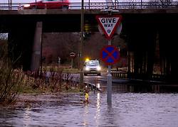 Burst Water Main, Livingston, Sunday 5th January 2020<br /> <br /> Thousands of residents in Livingston and Pumpherston were affected when a water main burst in Cousland Road, Ladywell today.<br /> <br /> Police blocked off the area due to flooding whilst Scottish Water worked to restore supplies to local houses and businesses.<br /> <br /> Some households had no water whilst others had low water pressure and the water was discoloured.<br /> <br /> Pictured: Flooding on Cousland Road Interchange, Livingston<br /> <br /> Alex Todd | Edinburgh Elite media