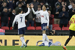 BRITAIN-LONDON-FOOTBALL-PREMIER LEAGUE-TOTTENHAM HOTSPUR VS WATFORD.(180430) -- LONDON, April 30, 2018  Tottenham Hotspur's Dele Alli (R) celebrates after scoring a goal, with Tottenham Hotspur's Son Heung-Min  during the Premier League football match between Tottenham Hotspur and Watford at Wembley Stadium in London, Britain on April 30, 2018.  Tottenham Hotspur won 2-0.  FOR EDITORIAL USE ONLY. NOT FOR SALE FOR MARKETING OR ADVERTISING CAMPAIGNS. NO USE WITH UNAUTHORIZED AUDIO, VIDEO, DATA, FIXTURE LISTS, CLUB/LEAGUE LOGOS OR ''LIVE'' SERVICES. ONLINE IN-MATCH USE LIMITED TO 45 IMAGES, NO VIDEO EMULATION. NO USE IN BETTING, GAMES OR SINGLE CLUB/LEAGUE/PLAYER PUBLICATIONS. (Credit Image: © Tim Ireland/Xinhua via ZUMA Wire)