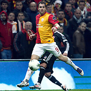 Galatasaray's Johan Elmander Without the ball (stood full) during their Turkish superleague soccer derby match Galatasaray between Besiktas at the TT Arena at Seyrantepe in Istanbul Turkey on Sunday, 26 February 2012. Photo by TURKPIX