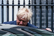 Prime Minister Boris Johnson leaves Ten Downing Street towards Parliament in London to attend his weekly session of PMQs on Wednesday, July 15, 2020. (Photo/Vudi Xhymshiti)