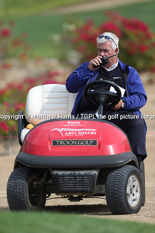 Chief referee John Paramor (ENGG) was kepted on his toes with the Rory MCILROY (NIR) rules incident during the 3rd round and a few more besides during fourth round HSBC Abu Dhabi Championship 2014,Abu Dhabi Golf Club,Abu Dhabi,UAE.