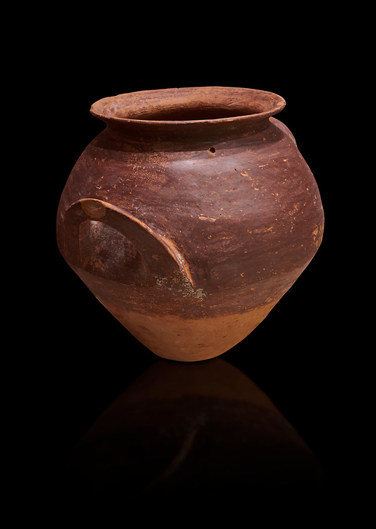 Hittite  terra cotta pot woth two handles. Hittite Period, 1600 - 1200 BC.  Hattusa Boğazkale. Çorum Archaeological Museum, Corum, Turkey. Against a black bacground. .<br />  <br /> If you prefer to buy from our ALAMY STOCK LIBRARY page at https://www.alamy.com/portfolio/paul-williams-funkystock/hittite-art-antiquities.html  - Type Hattusa into the LOWER SEARCH WITHIN GALLERY box. Refine search by adding background colour, place,etc<br /> <br /> Visit our HITTITE PHOTO COLLECTIONS for more photos to download or buy as wall art prints https://funkystock.photoshelter.com/gallery-collection/The-Hittites-Art-Artefacts-Antiquities-Historic-Sites-Pictures-Images-of/C0000NUBSMhSc3Oo