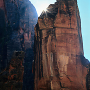 The Pulpit with rising sun in Zion Canyon, Zion National Park, Utah.