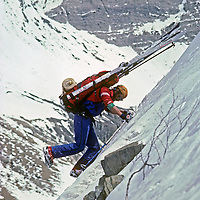 Ski mountaineer Allan Pietrasanta kicks steps down an icy slope above the Warwan River Gorge, during a pioneering two-week ski expedition across India's Great Himalaya Range, from Ladakh to Kashmir.
