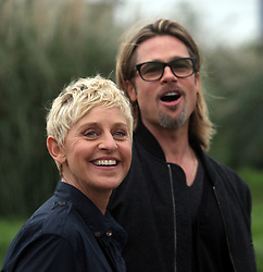 09 March 2012  - New Orleans, Louisiana - <br />Brad Pitt revisits his 'Make it Right' Foundation homes in the Lower 9th ward with Ellen Degeneres.<br />Photo Credit:  Charlie Varley / Sipa USA