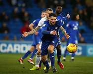 Sean Morrison of Cardiff city © in action.EFL Skybet championship match, Cardiff city v Bolton Wanderers at the Cardiff city Stadium in Cardiff, South Wales on Tuesday 13th February 2018.<br /> pic by Andrew Orchard, Andrew Orchard sports photography.