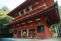 """Standing at the west end of Koyasan, Daimon is the main entrance to town. The first structure was created in the Tsuzuraori valley and moved to the present site in the 12th century. The statues inside are called the Kongo-Rikishi or Gaurdian Deities and watch over the main entrance to Koyasan. Situated near Daimon is the entrance to the """"Women's Pilgrimage Path"""" which goes around the outer edge of Koya town."""