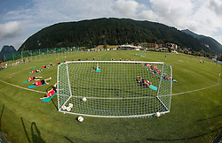 "24.07.2015, Sportplatz, Walchsee, AUT, Trainingslager, FC Augsburg, im Bild Trainingsplatz, Trainingslager in Walchsee, insgesamt eine runde Sache, im Hintergrund das Mannschaftshotel ""Seehof"" // during the Trainingscamp of German Bundesliga Club FC Augsburg at the Sportplatz in Walchsee, Austria on 2015/07/24. EXPA Pictures © 2015, PhotoCredit: EXPA/ Eibner-Pressefoto/ Krieger<br /> <br /> *****ATTENTION - OUT of GER*****"