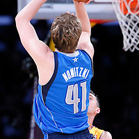 04 April 2014: Dallas Mavericks forward Dirk Nowitzki (41) takes a jump shot during the Dallas Mavericks 107-95 victory over the Los Angeles Lakers at the Staples Center, Los Angeles, California, USA.