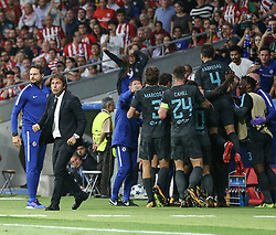 September 27, 2017 - Madrid, Spain - Antonio Conte, Manager of Chelsea and players of Chelsea celebrate victory after the UEFA Champions League group C match between Atletico Madrid and Chelsea FC at Estadio Wanda Metropolitano on September 27, 2017 in Madrid, Spain. (Credit Image: © Ahmad Mora/NurPhoto via ZUMA Press)