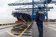 A dock worker looks at  CMA CGM SAs Benjamin Franklin container ship docked at the Guangzhou Nansha Container Port in Guangzhou, China, on Monday, Feb. 1, 2016. The Benjamin Franklin is the largest container ship ever to have docked at a U.S. port.