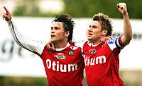 Fotball  Adeccoligaen 1 divisjon<br />Bryne Stadion 200607<br />Bryne - Haugesund <br /><br />Allan Borgvardt Bogvardt jubler over scoring sammen med  Kai Ove Srtokkeland