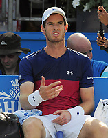 Tennis - 2017 Aegon Championships [Queen's Club Championship] - Day Two, Monday<br /> <br /> Men's Singles, Round of 32<br /> Andy Murray [GBR] vs. Jordan Thompson [Aus]<br /> <br /> Andy Murray talks to himself back in his chair, after losing the first set on Centre Court <br /> <br /> COLORSPORT/ANDREW COWIE
