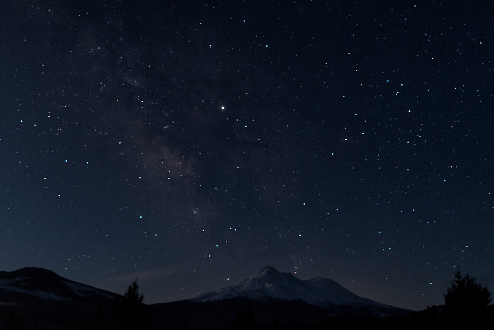 Scorpio and the Milky Way Galaxy in the southern sky directly above Mt Shasta