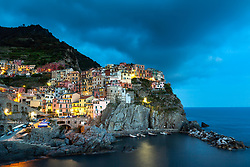 Blue hour at the Cinque Terre village of Manarola on the Italian Riviera.