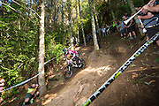 Tracey Hannah, of Australia, races to second in the elite women's class at theduring the Crankworx Rotorua Downhill presented by iXS inaugural Crankworx Rotorua event held at Skyline Rotorua, Rotorua, New Zealand, March 25-29, 2015.