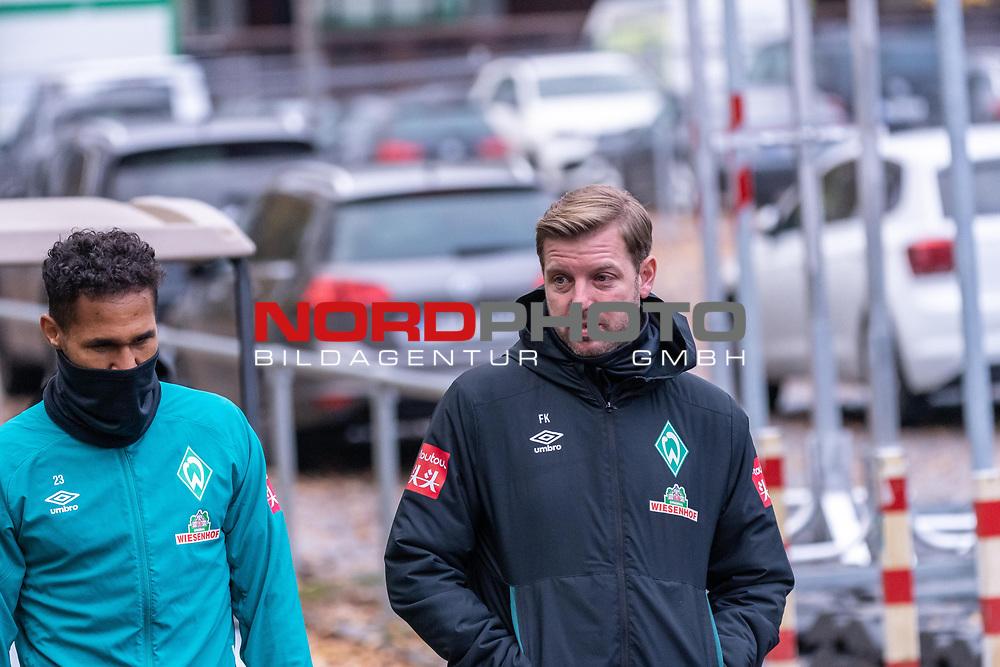 16.11.2020, Trainingsgelaende am wohninvest WESERSTADION - Platz 12, Bremen, GER, 1.FBL, Werder Bremen Training<br /> <br /> <br /> Florian Kohfeldt (Trainer SV Werder Bremen)<br /> Theodor Gebre Selassie (Werder Bremen #23)<br /> <br />  auf dem Weg zum Training<br /> <br /> <br /> Foto © nordphoto / Kokenge *** Local Caption ***