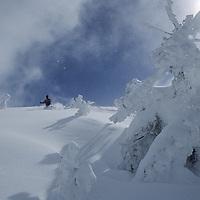 Snowcat skiing deep powder on Peaked Peak, Grand Targhee.